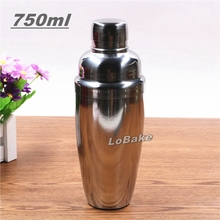 750ml thickened stainless steel cocktail shaker milk tea mixer alcohol agave whisky drinking mixing bottle bar accessories(China)
