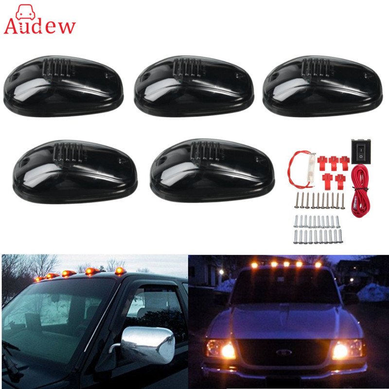 5Pcs Yellow 9-LED Car Cab Roof Running Marker Lights For Truck SUV LED 12V Black Smoked Lens/Lamp/Car External Lights<br>