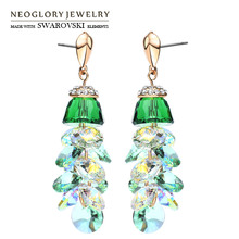 Neoglory MADE WITH SWAROVSKI ELEMENTS Crystal & Rhinestone Dangle Earrings Green Geometric Exquisite Jewelry For Lady Brand Gift