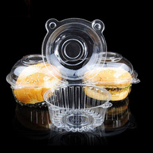 50pcs Plastic Cake Box Case Cupcake Holder Pods Clear Small Bread Box Muffin Dome Holder Baking Container Pods Practical Bowl