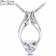 2018 drop ship float Hotselling 18kGP Czech Import Shine Zircon Heart Angel Wings Pendant chain Necklace Fashion jewelry 4064(China)