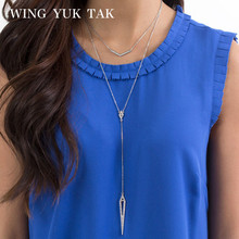 wing yuk tak Fashion Chic Design Punk Crystal Long Pendant Necklace For Women Link Chain Necklaces 2018 Hot Sales Brand Jewelry(China)