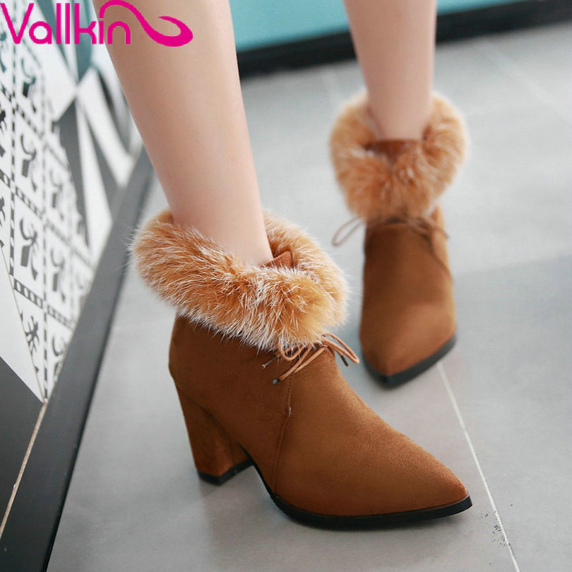 VALLKIN 2016 Pointed Toe British Autumn Flock Women Shoes Square High Heel Lace Up Ankle Boots Winter Warm Snow Boots Size 34-43<br><br>Aliexpress