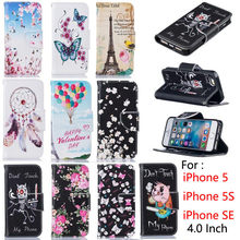 "Luxury PU Leather Case For Apple iPhone 5S Case Flip 4.0"" Stand Wallet Cover For Fundas iPhone 5 iPhone 5S iPhone SE Case Capa(China)"
