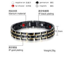 new Brand Fashion Health Magnetic Bracelet Men Jewelry Black & Gold Stainless Steel Metal Bangles Jewelry christmas gift(China)