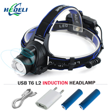 IR Sensor Headlight Induction Micro USB Rechargeable Lantern CREE XM L2 XML T6 Headlamp 3800 Lumen  Flashlight Head Torch18650