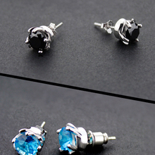 New Fashion Silver Color Crystal CZ Stud Earrings for Men Simple Jewelry Male Earrings Bijoux Femme Gifts 4 Colors