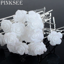 PINKSEE 20PCS Wedding Hair Accessories White Flower Hair Pins Hair Clip For Women Headwear Ornaments Wholesale