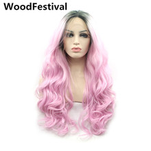women wavy pink hair dark roots ombre lace wig synthetic lace front wigs long blonde heat resistant mint green WoodFestival