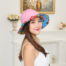 HOT Girls Summer 2017  Children Bucket Hat Flowers Print woman Sun Hats Floppy Beach Hats 9 color Sided with hat Free shipping