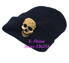 Cheap promotion new popular unisex novelty metal Gold skull head hip hop winter hats for women men boy girl brand beanies gorro