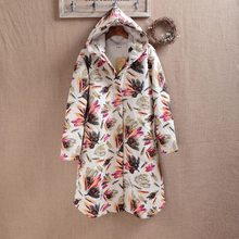2017 Winter Flocking Clip Loose Hooded Female Flower Print Long Sleeve Single Breasetd Hooded Collar Korean Fashion Style Parkas(China)