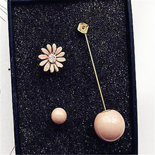 Sweet Cute Ab Design Flower Long Earrings Pink Grey Ball Ear Fashion Jewelry Accessories For Women Gift Wholesale