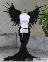 New Arrival Black Angel Feather wings costume show party wedding sexy props Large fairy wings 140*90cm EMS Free Shipping