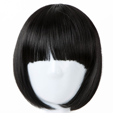 Children Wig Fei-Show Wig Synthetic Heat Resistant Fiber Short Wavy Hair Flat Neat Bangs Hairpieces for 50 Head Circumference