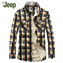 AFS JEEP 2016 new winter men's shirt, men's long-sleeved comfortable warm shirt plaid  shirt 2 colors 85