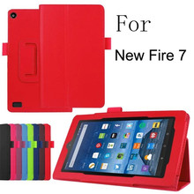 "For Amazon new Fire 7 2015 Leather Stand Smart Case Cover For new kindle fire 7 2015 7"" para e-Book tablets Cases free shipping"
