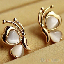 1 Pair Fashion Butterfly White Cat's Eye Opal Stone  Ear Stud Earrings  88YW