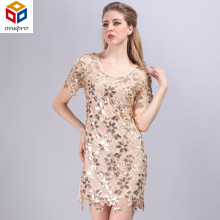 Cute summer short sleeve embroidery party dress slim woman hollow out sequined crochet dress elegant bodycon 88431