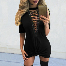 Club Party Dress 2017 New Women Sexy V-Neck Lace Up Long Tops Casual Short Sleeve Bandage Summer T Shirt Dresses Vestidos Mujer