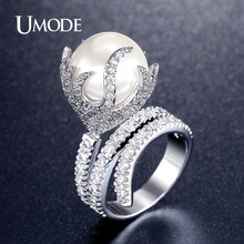 UMODE Ultra Big Synthetic Pearl Jewelry Fire Shaped Zirconia Rhodium Plated Micro Paved Rings for Women New Anel Feminino UR0327