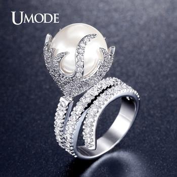 Fuego en forma de joyería umode ultra gran perla sintética zirconia rodio plateado micro pavimentada anillos para las mujeres nueva anel feminino ur0327