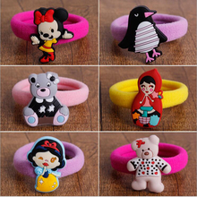 10pcs environmental silicone Sweet happy animal Elastic Hair ropes Kids Hair ties Adorable Ponytail Holder Hair Accessories(China)
