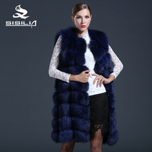 SISILIA 2016 Winter Natural Fox Fur Vest Women Long Genuine Fox Fur Coats Super Nice Royal blue  Ladies You Can Not Miss Jackets