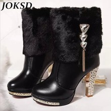JOKSD Size 35-41 New Women Boots 2017 High Heels Rabbit Fur Boots Women's Plush Warms Platform Boots Shoes Black White X64
