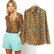 2014 Spring New Fashion Womens Sexy Leopard Printed Blouses Long Sleeve Casual Chiffon Shirt Tops(China)