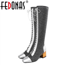 FEDONAS Brand Women 니 (High) 저 (부츠 패션 (High) 저 (힐 자 밤 Club 긴 Warm 화 Woman (High) 저 (Motorcycle Boots) 가 신발(China)