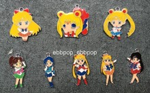 Lot 50pcs cartoon anime Sailor moon mix Metal Charm Key chain necklace Pendants DIY Jewelry Making Mobile Phone Accessories w-01(China)