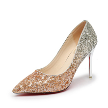 Women pumps 2018 new arrivals sexy high heels 9 cm women shoes fashion bling pointed toe women platform pumps gold shoes(China)