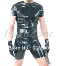 Latex cod piece leotard clothings with front zip(China)