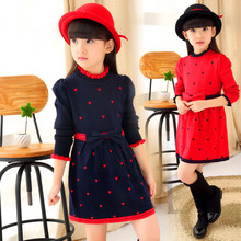 New 2016 spring  autumn Flower pattern  kid girls' dresses, children's clothes, children's princess Pure cotton knitting clothes