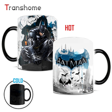 Transhome Batman Color Changing Mug Ceramic Heat Senstive Magic Coffee Tea Mug For Creativity Gift 1pc Drop shipping