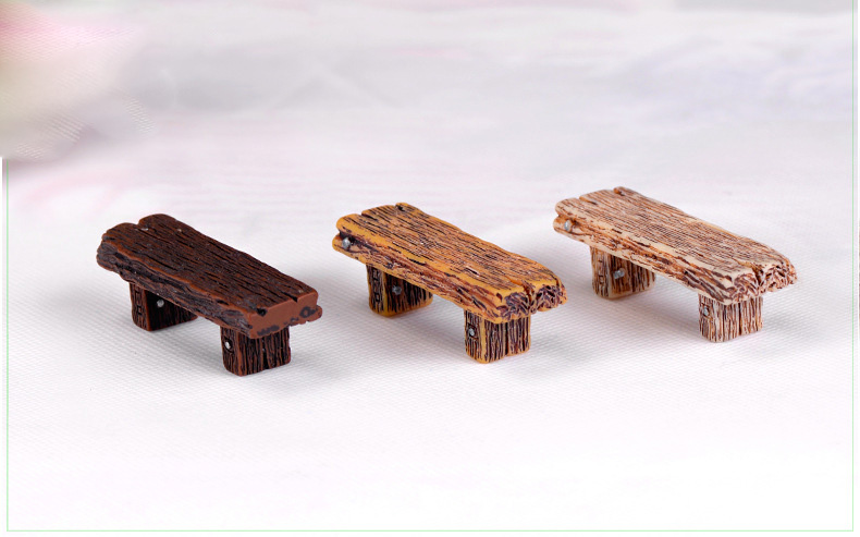 Miniature Dollhouse FAIRY GARDEN Furniture ~ Resin Log Table with Two Benches