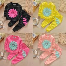 2016 New Baby Girls Kid SunFlower Outfit Clothing Set  Long Sleeve T-shirt Tops +Long Pants 2Pcs Outfit Cute Children Set Suits