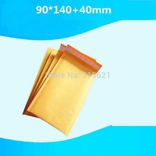50pcs 90mm*140mm+40mm Mailing Bags Yellow Kraft Mailer International Transportation Post Packing Bag Moistureproof Airform