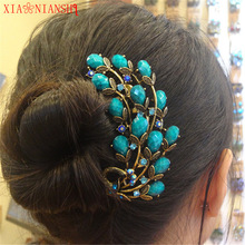 Vintage Resin&Crystal Rhinestone Peacock Hair Combs Antique Bronze Hair Clips Hairpins Headdress Exquisite Hair Jewelry Women