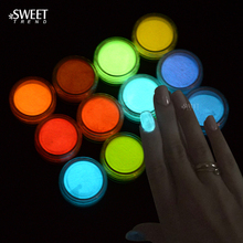 SWEET TREND 1Bottle Fluorescence Pigment Ultrafine Glitter Glow Powder Nail Polish Luminous Decor Tip Nail Beauty Tool LAYS01-12