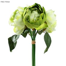 1 Bunch Green Rose Silk Artificial Flower For Public places Home Celebrations Party Wedding Garden Festival Decor 28cm