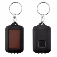 2Pcs/lot Portable Mini 3LED Solar Power Panel Flashlight Torch Lamp Light Keychain Hot(China)