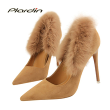 Buy plardin 2018 Spring/Autumn Shoes Woman Concise Fashion Women Fur Party Wedding Suede material ladies shoes Thin High Heel Pumps for $21.55 in AliExpress store