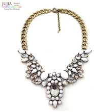 Wholesale Chain chunky J C Choker statement necklaces fashion crystal pendant Necklace 2017 women Christmas Luxury gift(China)