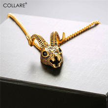 Collare Antelope/Goat Skull Head Pendant 316L Stainless Steel Sheep Skull Necklace Gold/Black Color Hippie Animal Jewelry P818(China)