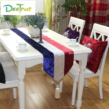 Velvet Color European Style Fashion Mosaic Floral Striped Table Runner for Wedding Chemin De table Home Decoration Table Cover(China)