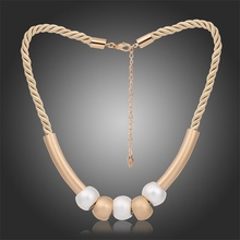 2016 New Famous Design Silver Champange Gold Maxi Ball Bar Colar Choker Necklace Women Twisted Rope Chain Party Costume Jewelry(China)