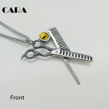 CARA New Blue stone Barber scissors comb necklace pendant 316L stainless steel devil eye Scissors&Comb barber necklace CARA0459(China)