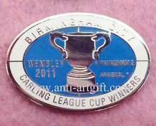Custom OEM/ODM Football metal pin Badge coffee Cup BIRMINGHAM CITY Hard Enamel Silver with epoxy NO MOQ